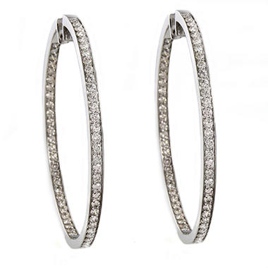 2.50 CT. T.W. Diamond Inside-Out Hoop Earrings in 14K White Gold (I, I1)