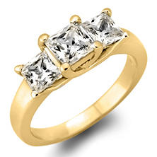 1.95 CT. T.W. Princess-Cut Diamond 3-Stone Ring in 14K White or Yellow Gold (H-I, VS2)