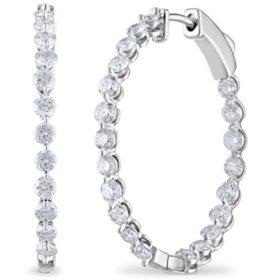 Diamond Hoop Earrings In 14k Gold