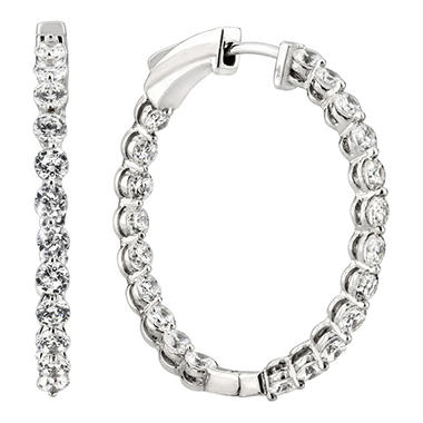 1.45 CT. TW. Diamond Hoop Earrings in 14K White Gold (H-I, I1)