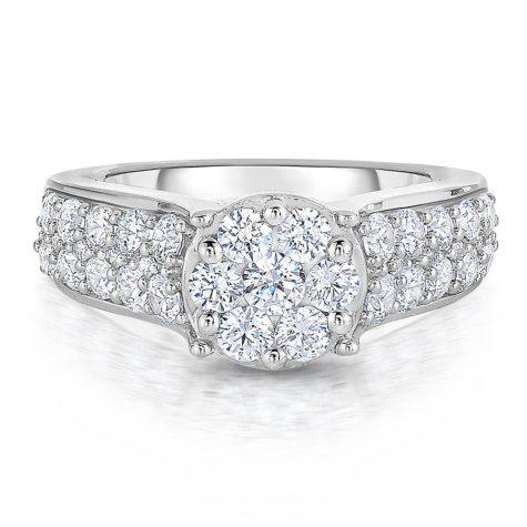 1.70 CT. T.W. Round Diamond Ring in 14K White Gold ( HI,I1)