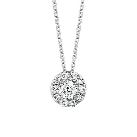 Round-Cut Diamond (.25 ct. t.w.) Halo Pendant in 14K White Gold (I, I1)
