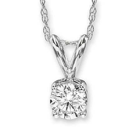 .43 ct. Round-Cut Solitaire Pendant in 18K White Gold (H, VS1)