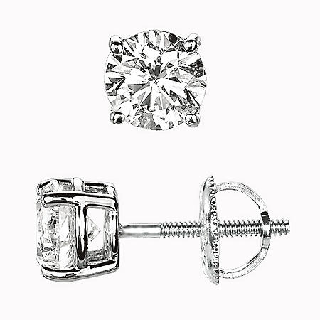 .34 ct. t.w. Round-Cut Diamond Earrings (I, VS1)