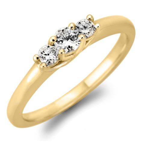 .23 CT. TW. Round Diamond 3-Stone Ring in 14K White or Yellow Gold (H-I, VS2)