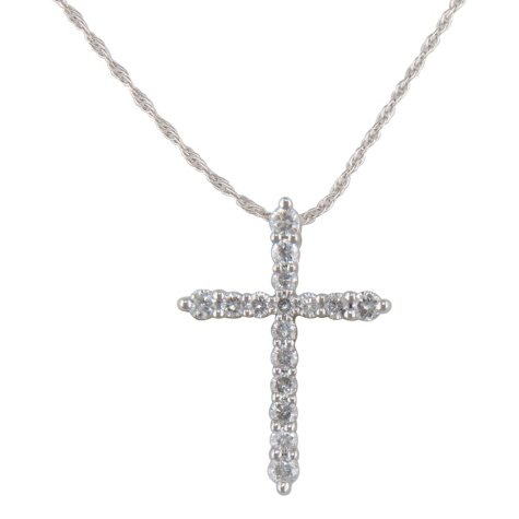 0.20 ct. t.w. Diamond Cross Pendant in 14K White Gold (H-I, I1)