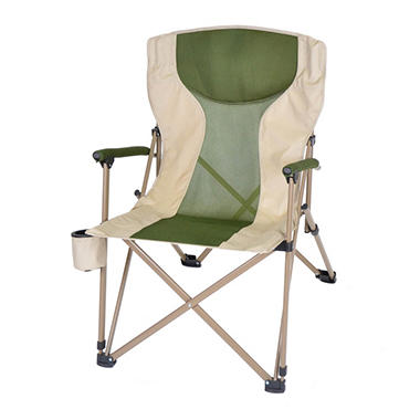 Oversize, Folding Arm Chair - Forest Green/Tan