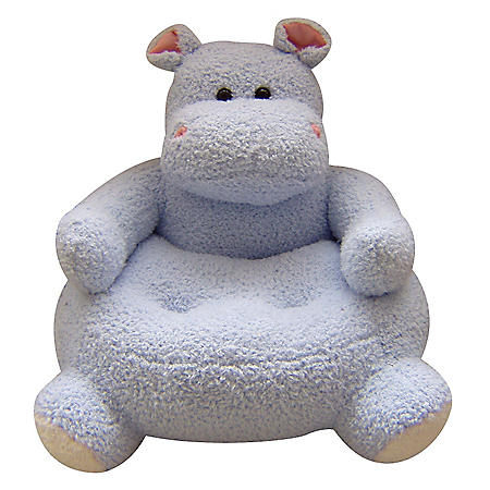 "23"" Round Blue Hippo Plush Animal Chair"