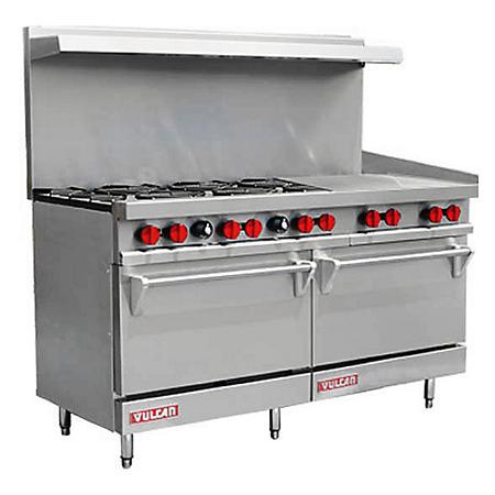 """Vulcan V60F-1 60"""" Natural Gas 6 Burner Range with 24"""" Griddle and 2 Ovens"""