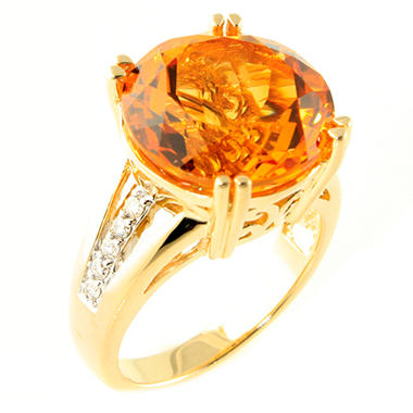 6.80 CT. Round Citrine and Diamond Ring in 14K Yellow Gold (H-I, I1)