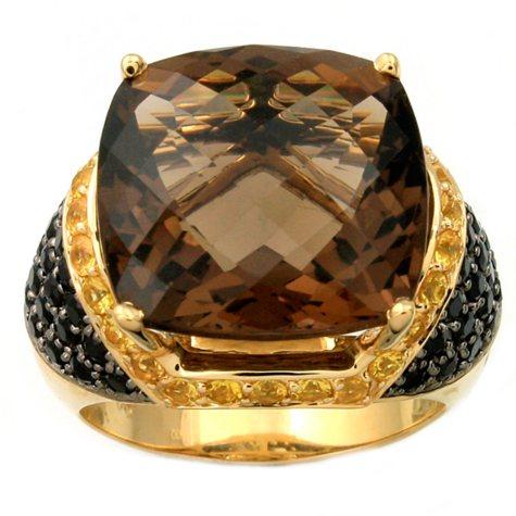 Smokey Quartz, Black And Yellow Sapphire Ring In 14K Yellow Gold