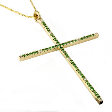 Tsavorite and Diamond Accent Large Cross Pendant in 14K Yellow Gold