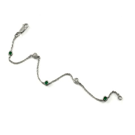 .33 ct. t.w. Emerald and Diamond Color Strand Bracelet