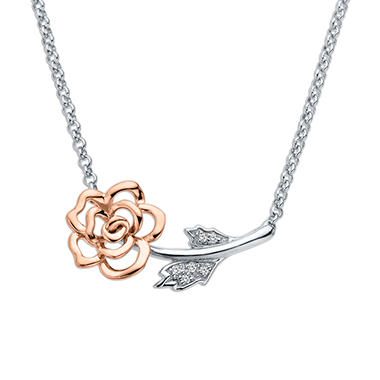 Flower Pendant with Diamond Accent in Sterling Silver and 14K Pink Gold
