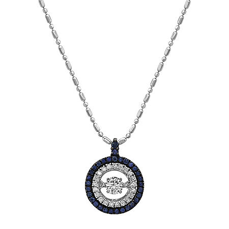 S Collection Double Halo Diamond and Sapphire Pendant in 14K White Gold