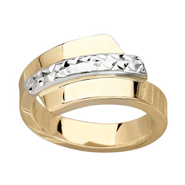 Two Tone Italian Byp Ring In 14k Gold