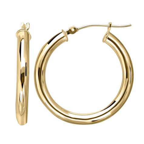 Polished Hoop Tube Earrings in 14K Yellow Gold