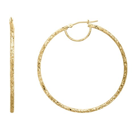 Gold Round Crystal Cut Hoop Earrings in 14K Yellow Gold