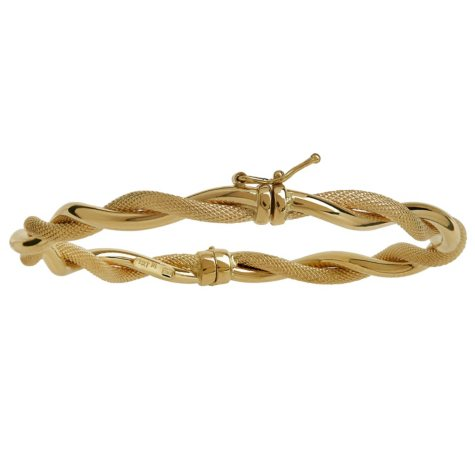 Italian Gold Twisted Polished & Textured Bangle in 14K Yellow Gold