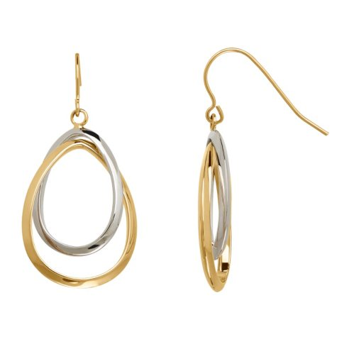 Two-Tone Double Oval Drop Earrings in 14K Gold