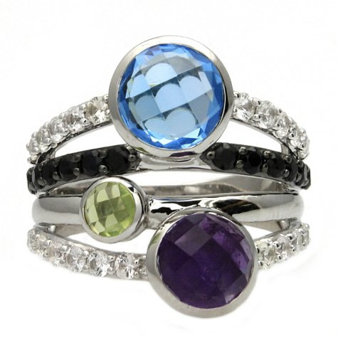 Swiss Blue Topaz, Amethyst, Peridot and White & Black Sapphire Ring in Sterling Silver