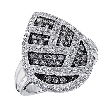 0.75 ct. t.w. Diamond Teardrop Ring in Sterling Silver & Rhodium (H-I & Silvermist, I1)
