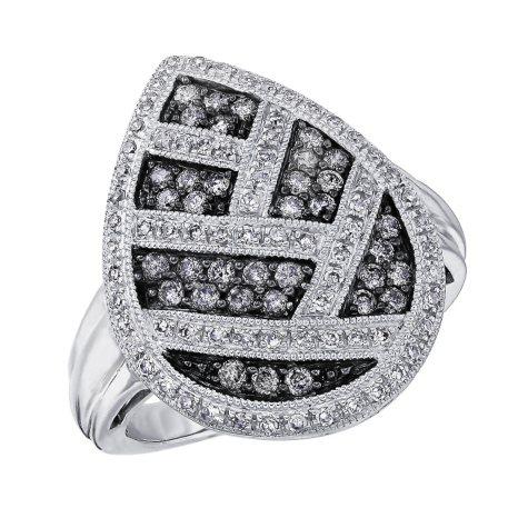 0.75 ct. t.w. Diamond Teardrop Ring in Sterling Silver & Rhodium (H-I & Silvermist, I1)