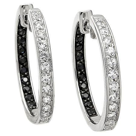 Black and White Sapphire Earrings in Sterling Silver