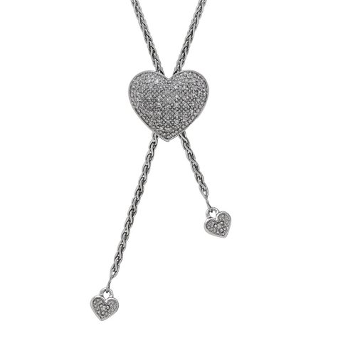 Sterling Silver Heart Bolo Necklace with Diamond Accent