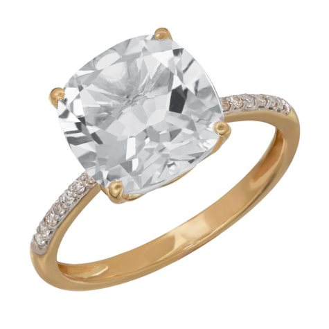 White Topaz Ring with Diamond Accent