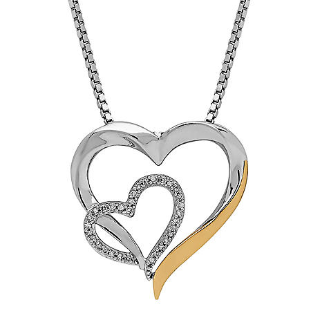 Double Open Heart Pendant in Sterling Silver and 14K Yellow Gold