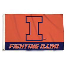 NCAA University of Illinois Fighting Illini 3' x 5' Flag with Pole Mount Kit