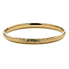 "4/16"" Diamond Cut Design Bangle in 14K Yellow Royale Gold"