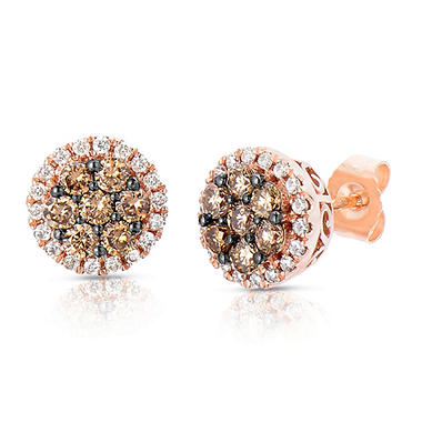 0.70 CT. T.W. Fancy Brown Diamond Stud Earrings in 14K Rose Gold