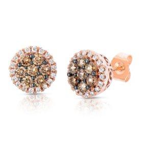 T W Fancy Brown Diamond Stud Earrings In 14k Rose Gold