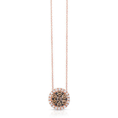 0.95 CT. TW. Fancy Brown Diamond Pendant in 14K Rose Gold