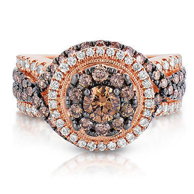 engagement champagne bezel fancy pave certified rings gold wedding diamond brown carat rose ring handmade halo set