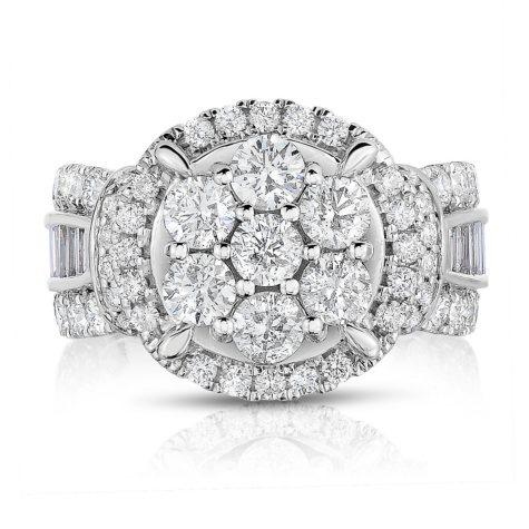 2.95 CT. T.W. Diamond Engagement Ring in 14K White Gold (HI-I1)