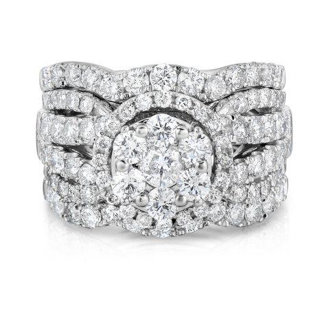 2.95 CT. T.W. Diamond Engagement Set in 14K White Gold (HI, I1)