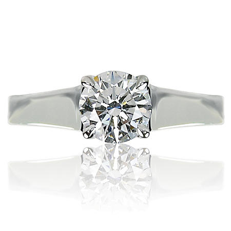 1.01 ct. Round Brilliant-Cut Diamond Solitaire Ring in 14K White Gold (G, VS2)