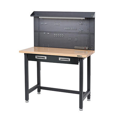 Seville Classics UltraHD Lighted Workbench - Dark Gray