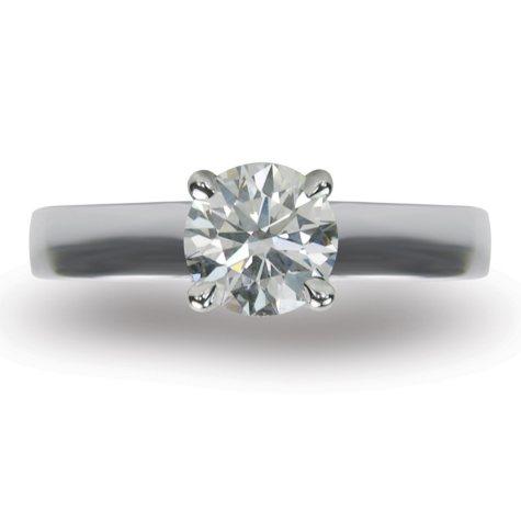 1.51 ct. Round Brilliant-Cut Diamond Solitaire Ring in 18k White Gold (I, VS1)