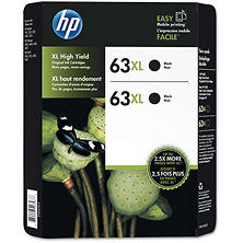 HP 63XL, (L0R44BN) 2-pack High-Yield Black/Tri-Color Original Ink Cartridges