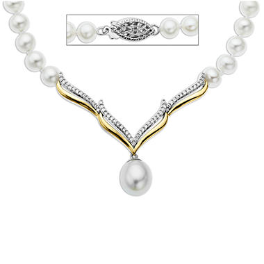 Freshwater Pearl Necklace with 0.20 ct. t.w. Diamonds in Sterling Silver and 14k Yellow Gold (H-I, I1)