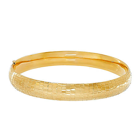 14K Yellow Gold Hollow Textured Bangle