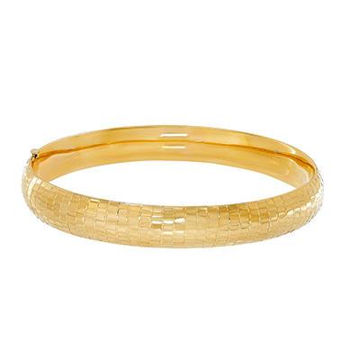 14k Yellow Gold Hollow Textured Bangle