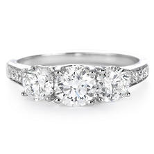 Premier Diamond Collection 1.99 CT. T.W. Three-Stone Diamond Engagement Ring in 14K White Gold - IGI (G-H, SI2-I1)