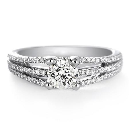 Premier Diamond Collection 1.05 CT. T.W. Round Diamond Engagement Ring in 18K White Gold - GIA & IGI (I, SI1)