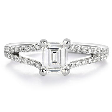 Premier Diamond Collection 0.87 ct. t.w. Emerald Diamond Split Band Engagement Ring in 18K White Gold - GIA & IGI (E, VS2)