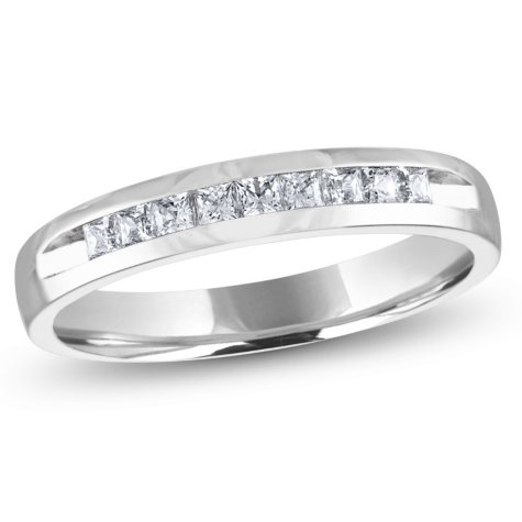 0.25 CT. T.W. Channel Set Princess Diamond Band in 14K White Gold (H-I, I1)